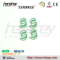 green color S shape paper clip
