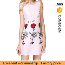 2016 new fashion rose color sleeveless women dress with rose pattern
