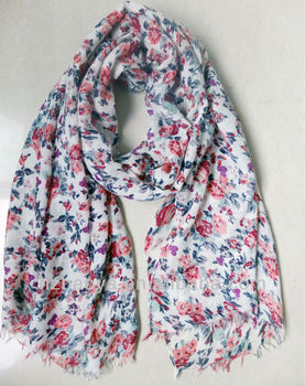 Hot floral fashion lady twill polyester scarves 2015