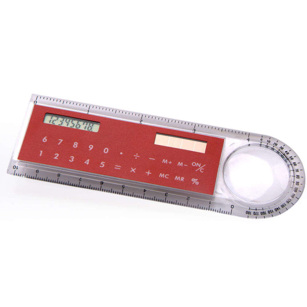 10cm fancy calculator, Ruler Calculator with Magnifier, 8 Digits Pocket Solar Ruler Calculator