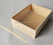slide lid wood wine gift packing box with window
