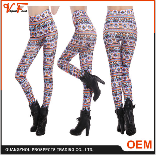 2016 New Fashion Women European Style Fitness Printed mature leggings