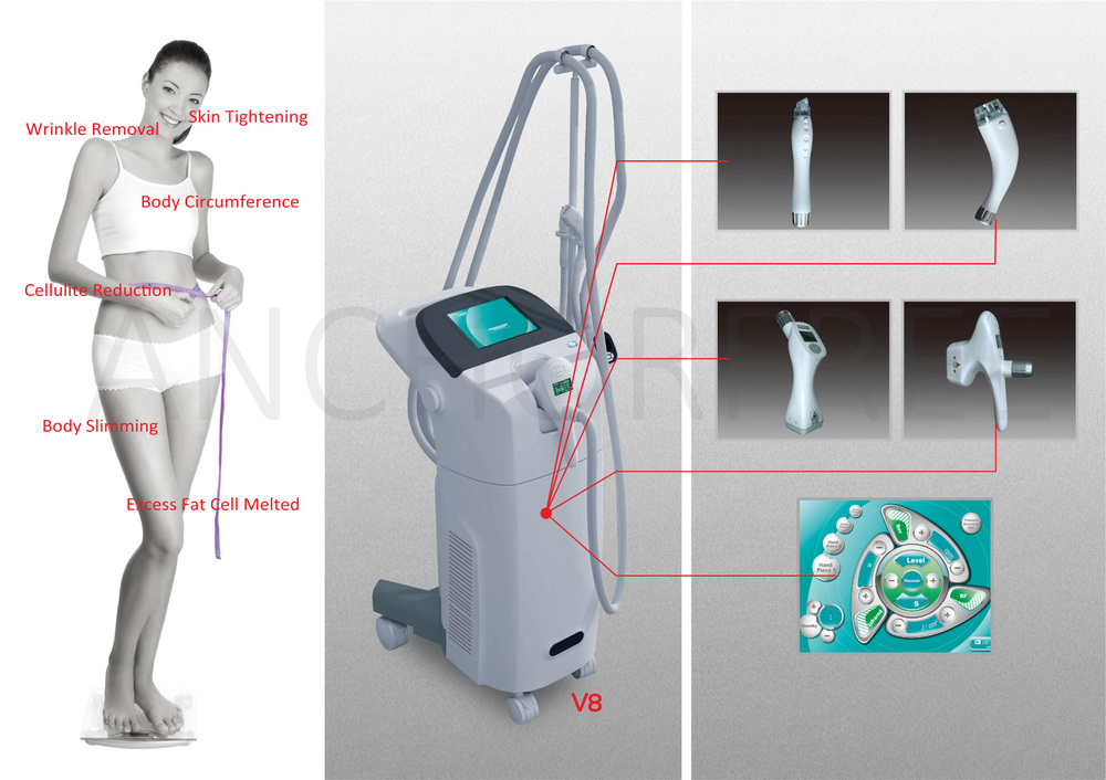 Vacuum Liposuction+Bipolar RF+Infrared Laser+Rollers Massage Body Slimming Machine V8 Velashape
