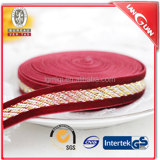 15mm decorative red gold yarn elastic ribbon