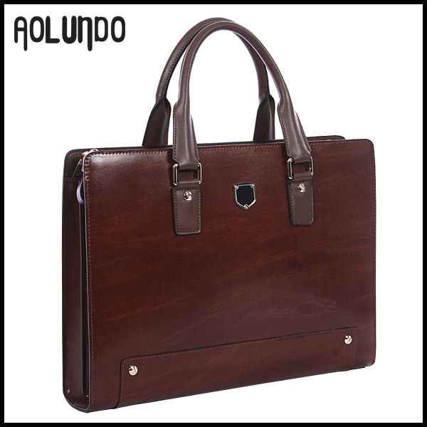 Brown leather new briefcase high end men laptop bag fashion portfolio