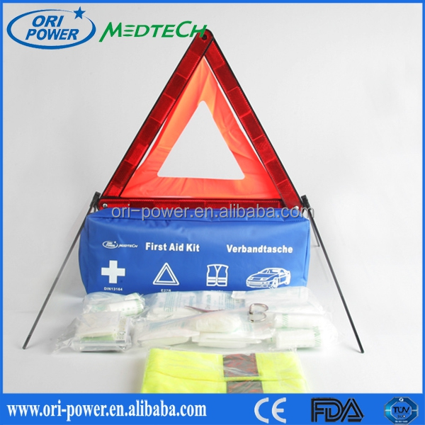 New DIN13164 Germany FDA CE approved promotion compact auto motorcycle car road emergency kit