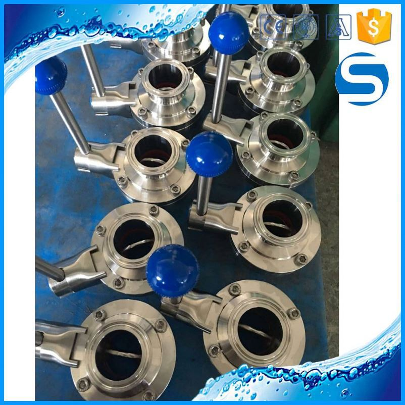 3A,SMS,ISO,DIN ss food grade butterfly valve with actuator