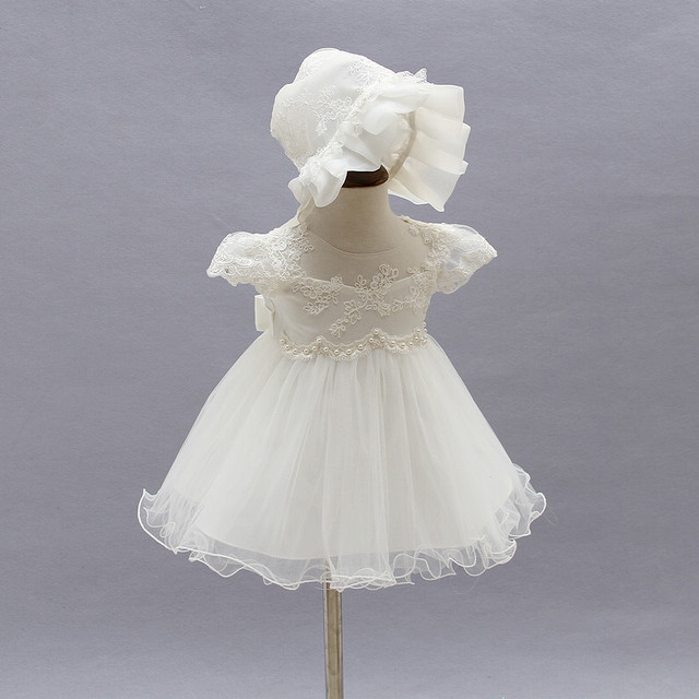 88dfb51a1 2017 Baby Girl Wedding Dress Infant Princess Little Girls 1 Year Birthday  Party Dress Newborn Christening
