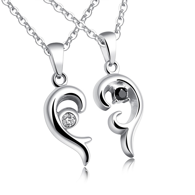 1191N Fashion Valentine 'S Day Gift Simple Creative Heart Love Couple Necklace With Rhinestones For Students