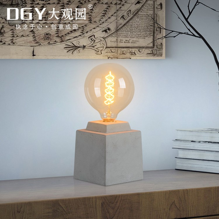 Portable luminaire study cordless restaurant bed side modern cement led table lamp