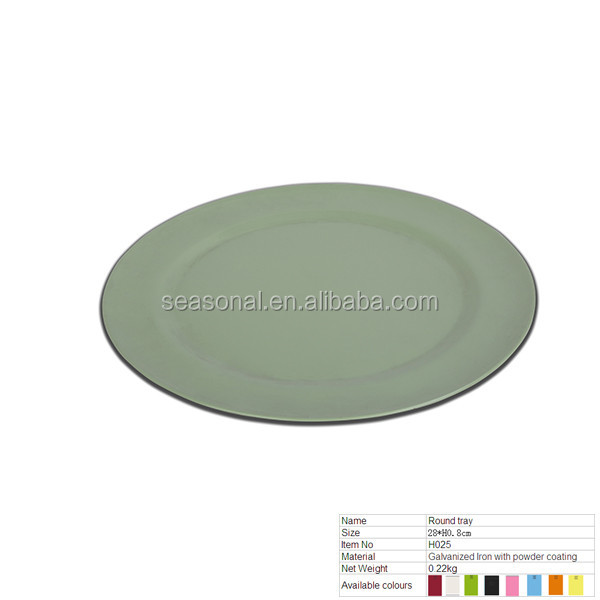 H025 Colorful Round Galvanized Iron Metal Serving Tray With Power Coating