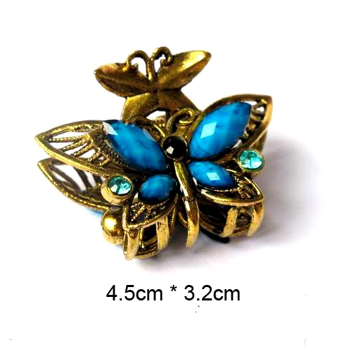 Trendy Colorful Resin Butterfly Hair Claw Small Antique Gold Plated Alloy Hairclips Hair Ornaments For Women