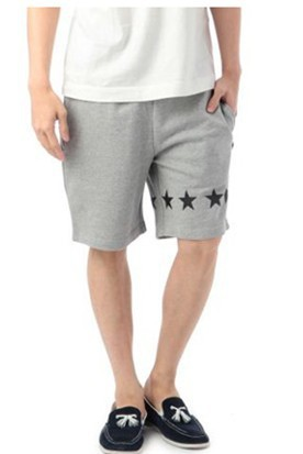 men terry fleece grey short pants with side pocket print star & string