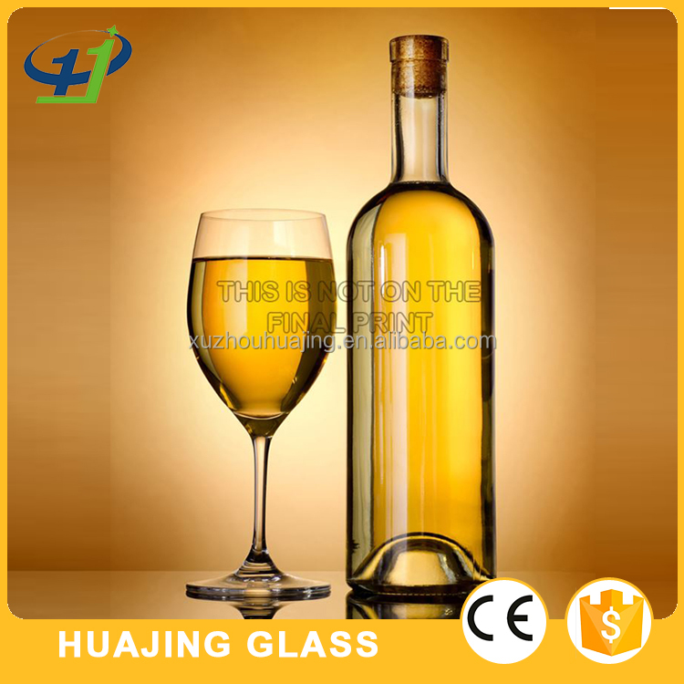 high quality 750ml empty wine bottle glass with cork wholesale