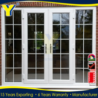 YY manufacturer double glass used exterior aluminium french doors with side panels