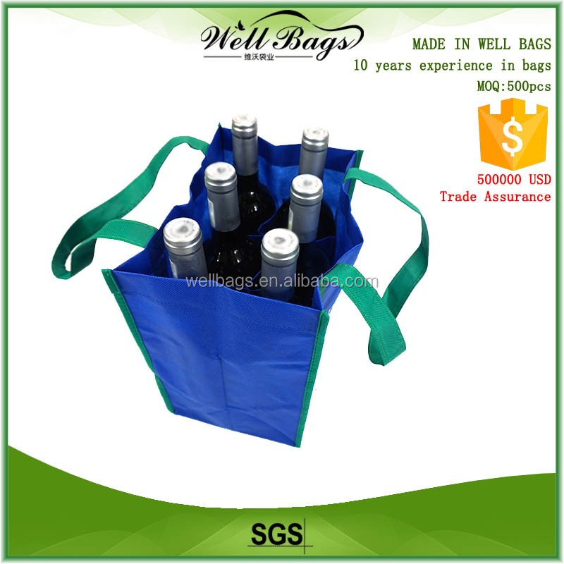 custom printed promotional handle full length to bottom blue Eco non woven 6 pockets bottles packed bottle Wine Bag