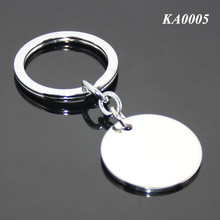 Wholesale Simple Round Shape Tag Keyring Blank Stainless Steel Metallic Key Chain