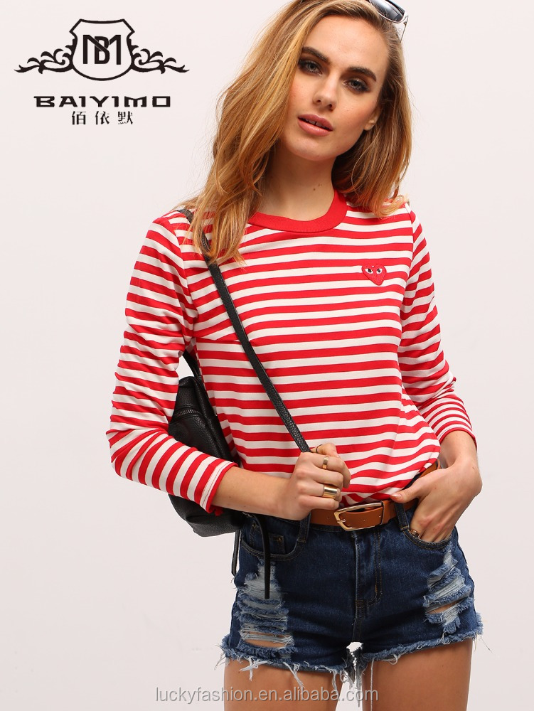 Latest New Design Summer Red White Long Sleeve Women Striped Cotton T-Shirt