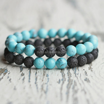 SN1178 Couple Stone bead bracelet set Turquoise Black Lava Stretch bracelet For Men and Women