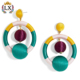 ELX-00772 2018 latest design fashion trend colored cord double ball bon bon dangle post earrings hoop silk ball earrings