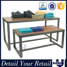 Rectangle tiered tablee wood clothing store retail display tables