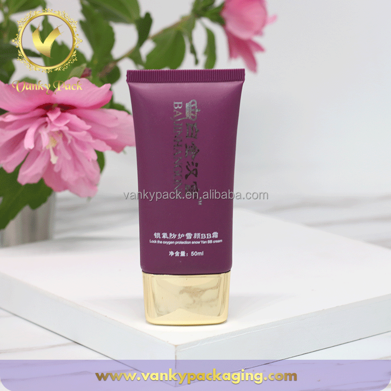 CUSTOM OVAL 50ML PE PLASTIC COSMETIC TUBE FOR BB CREAM WITH GOLD CAP