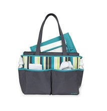 Designer Fashion Purse Style Multi Stripe 5 Piece Turquoise Wipeable Roomy Diaper Bag Set Tote Bag for Women Zip Tote Bag