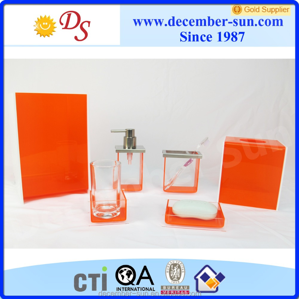 cheap clear acrylic orange bathroom accessories price
