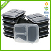 3-Compartment Microwave Safe Food Container with Lid/Divided Plate/Bento Box/Lunch Tray with Cover, Black, 10-Pack