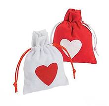 12 Pack Valentine canvas drawstring bags with heart