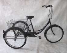 Tianjin feichi jianma 24 inch 6 speed steel tricycle/ cargo trike/ made in china three wheels bicycle