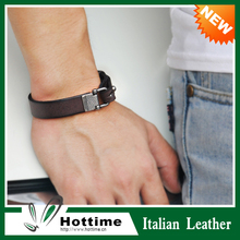 Top Sale European Fashion Wide Male Stainless Steel Leather Bracelet