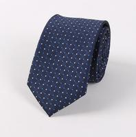 DM 826 Yarn Dye Polyester Party Necktie Mens Wedding Compere Decoration Vintage Navy Polka Dot Tie