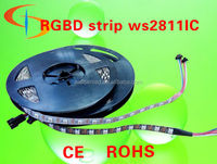 ws2812b led strip white&black pcb , dmx addressable rgb led flexible strip with ws2811 built in IC
