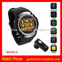 "2013 New Fashion 1.5""TFT,Touch screen .3M Cam,Bluetooth,GSM Quad band with CE ROSH, FCC watch mobile phone MQ222"