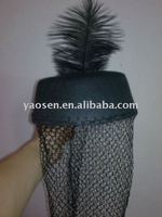 black felt mini top hat with black feather and black net