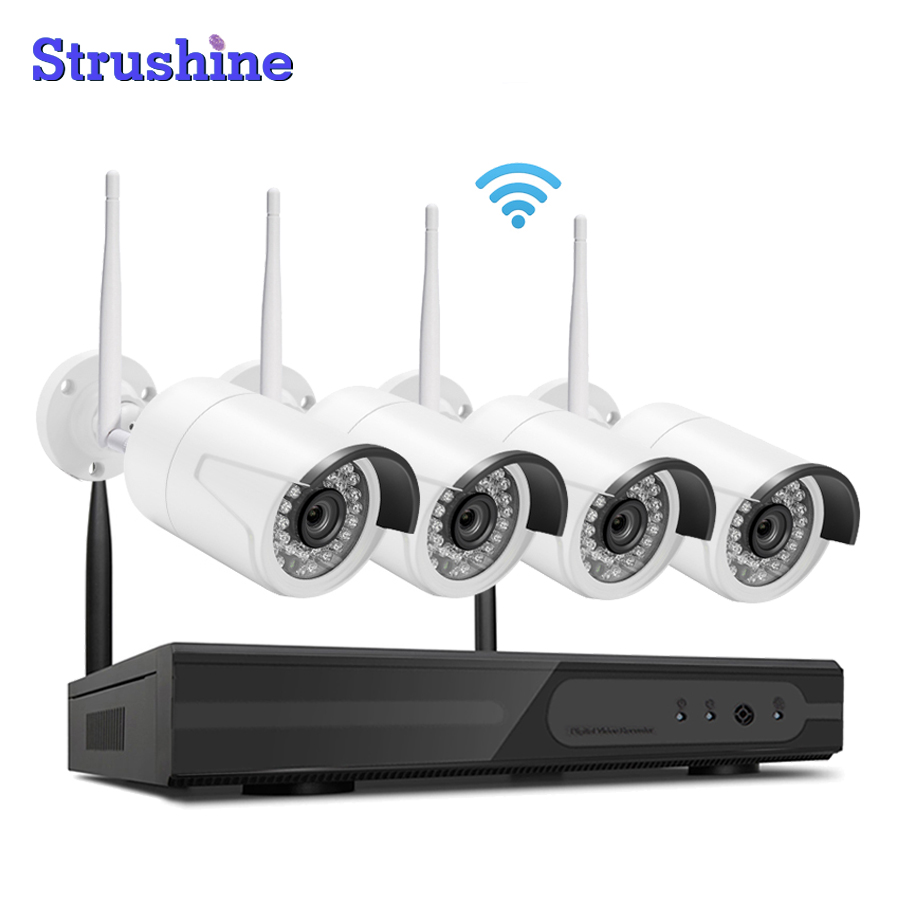 Factory Directly Cheap 4CH NVR Wireless CCTV System 4pcs 720P IP Camera Waterproof Home Security Surveillance Kit