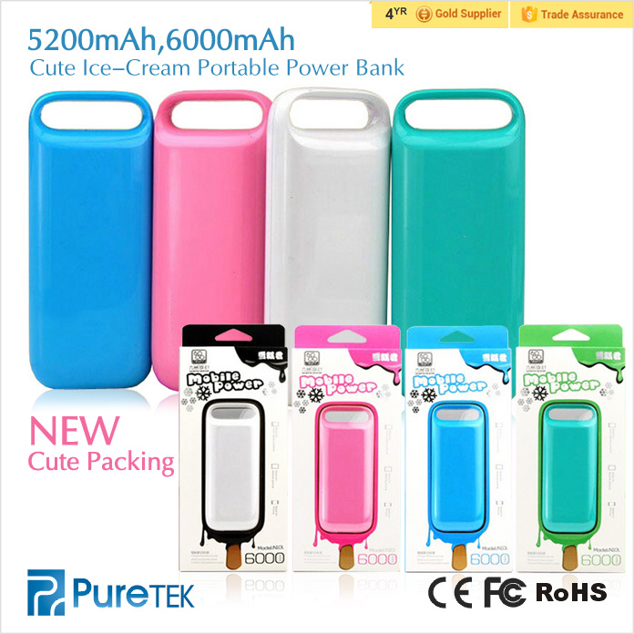 Factory direct Hot Sale, Cute Ice-cream Universal Portable Power Bank Charger for iPhone5s 6s plus ios9
