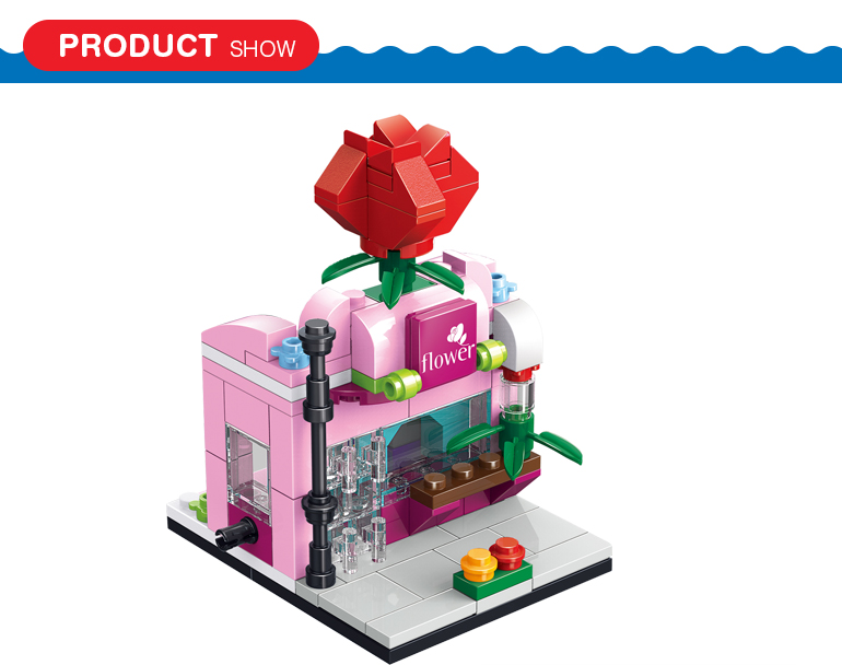 120 pcs city street series flower shop model building block bricks construct toy for kids
