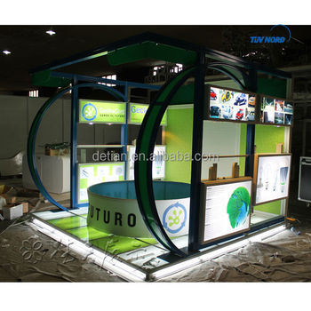 3*3 eyecatching booth display with led showcase, tade show displays