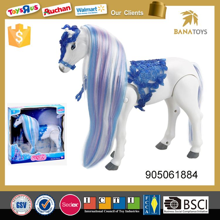Electric girl play game toys plastic horse