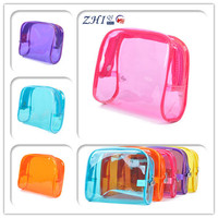 High quality plain multicolor mini pvc clear cosmetic bag with embossed zipper for woman