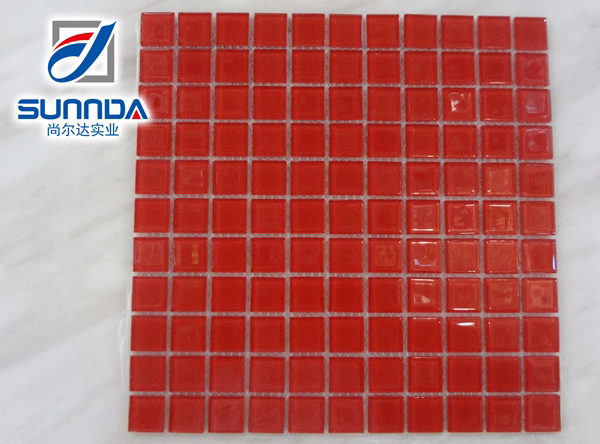Sunnda china pure black red white blue dacorative glass mosaic tile