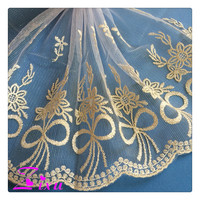 fine polyester net embroidered lace fabric for sarees