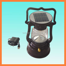Solar led portable lamp lantern with handle and AC charger