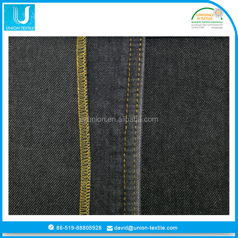 Heavy weight cotton jeans black denim fabric