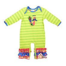 Long sleeve fall winter longall appliqued Turkey baby romper