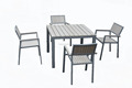 CH-T095,CH-C110 Brushed aluminum frame outdoor patio furniture tables chair sets, plastic outdoor table and chair set
