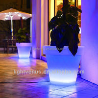 glow led flower pot flashing Design decorative outdoor garden illuminated led lighted planter pots