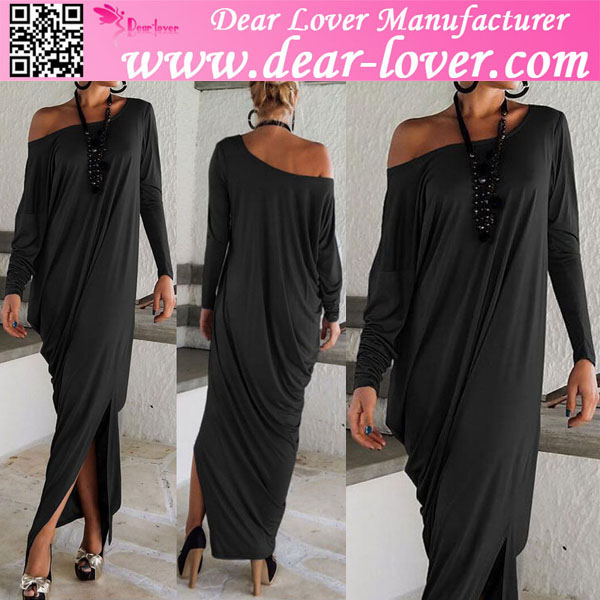 Black Muslim Long Sleeve Pakistan Dress Maxi design 2015